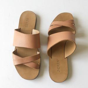J Crew Bali Tan Leather Strappy Flat Slide Sandals